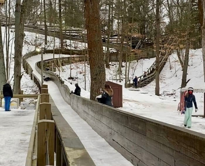 luge track at Muskegon Luge Adventure Park
