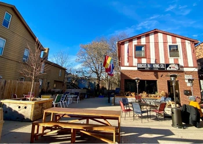 outdoor beer garden at Bircus Brewing Company