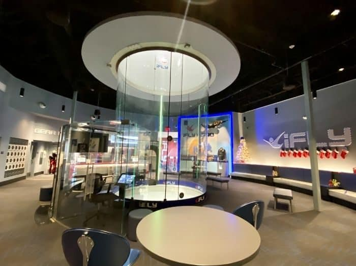seating area around the wind tunnel at iFLY Cincinnati