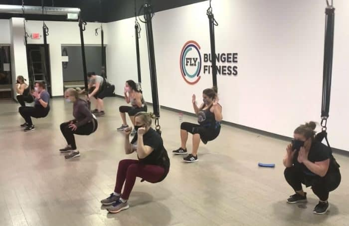squats during Bungee Fitness Class in Cincinnati