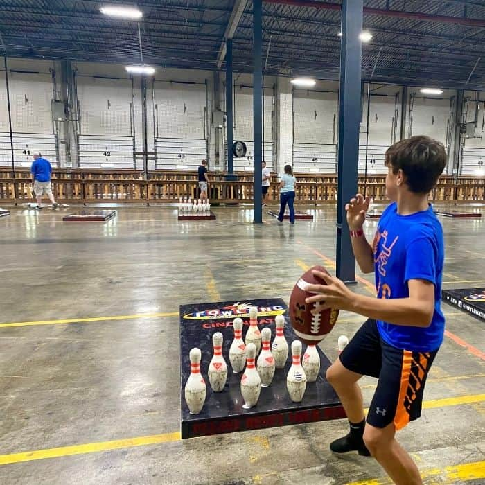 teenage boy fowling at Fowling Warehouse Cincinnati