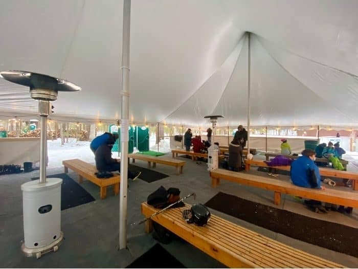 tent for putting on gear at Muskegon Luge Adventure Park