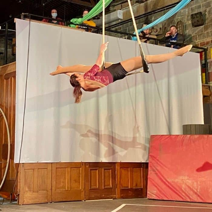 trapeze during Family Matinee Circus and Workshop at Bircus Brewing Company