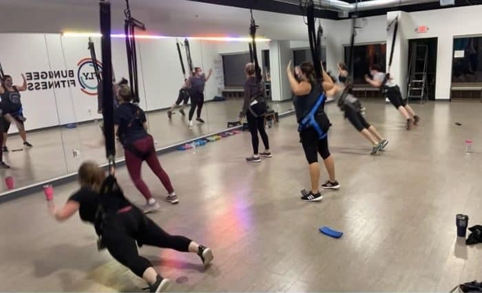 trust fall during Fly Bungee Fitness Class