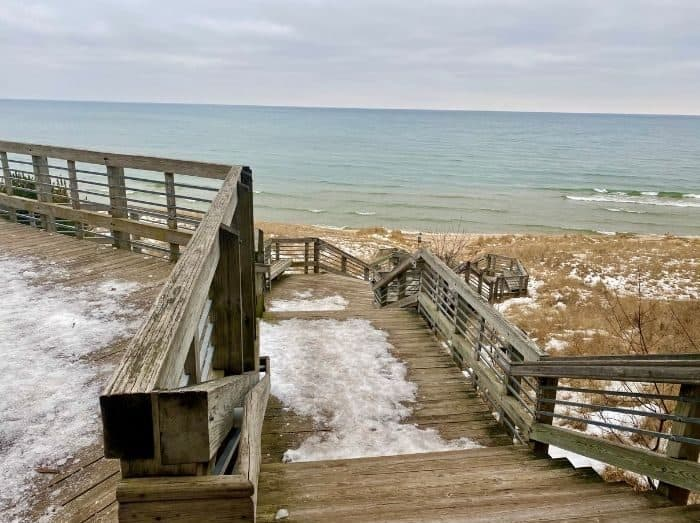 view of Lake Michigan in the winter near Muskegon
