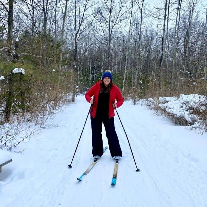 Nedra McDaniel cross country skiing in Door County Wisconsin