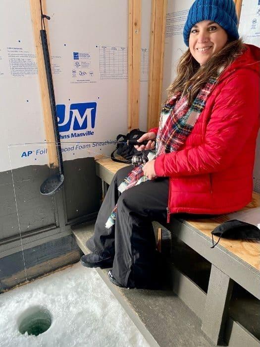 Nedra McDaniel ice fishing in Door County