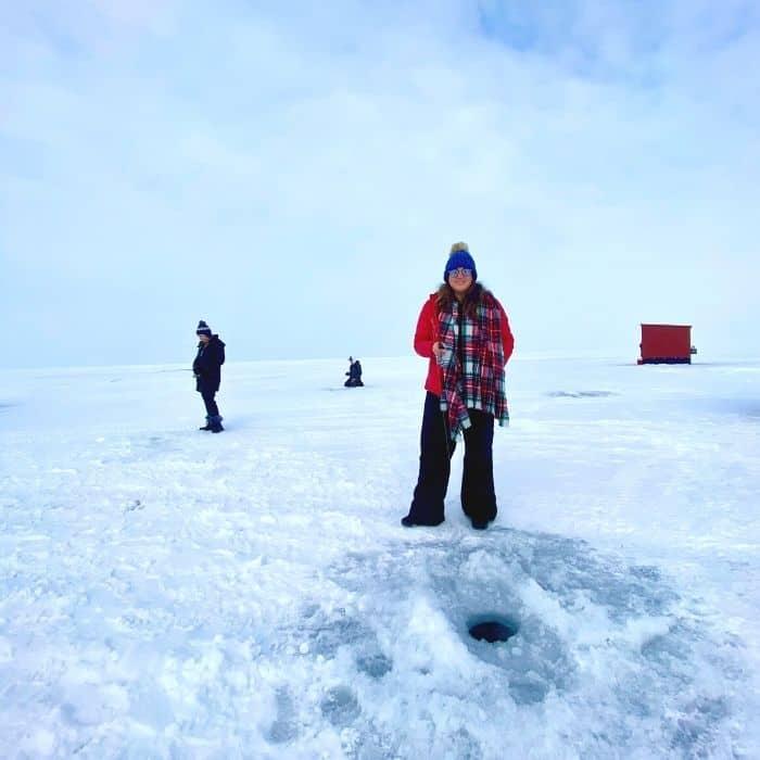 Nedra McDaniel ice fishing in Sturgeon Bay Wisconsin