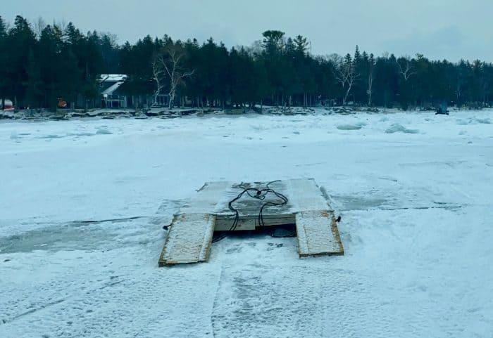 bridge on the ice on Sturgeon Bay