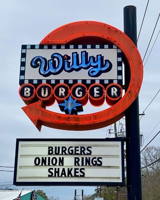 sign for Willy Burger