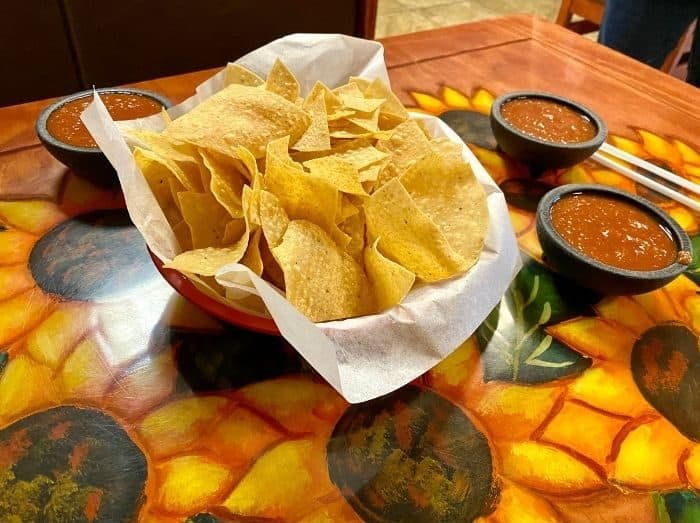 chips and salsa at Carmela's Mexican Restaurant