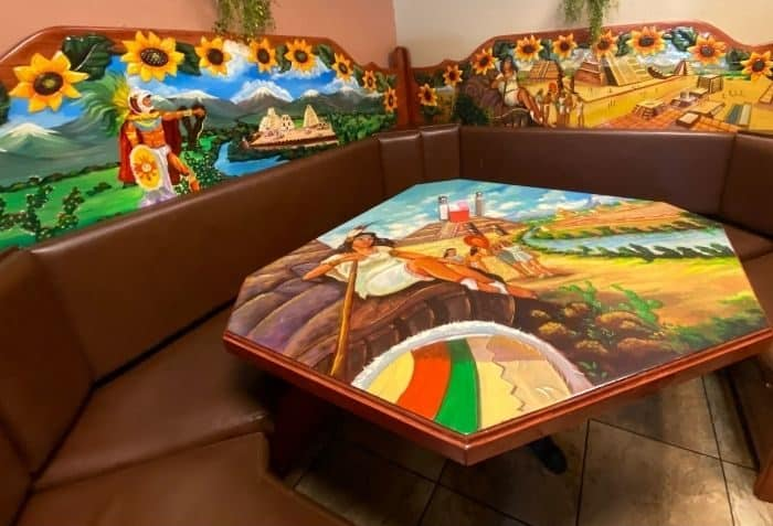 colorful tables at Carmela's Mexican Restaurant