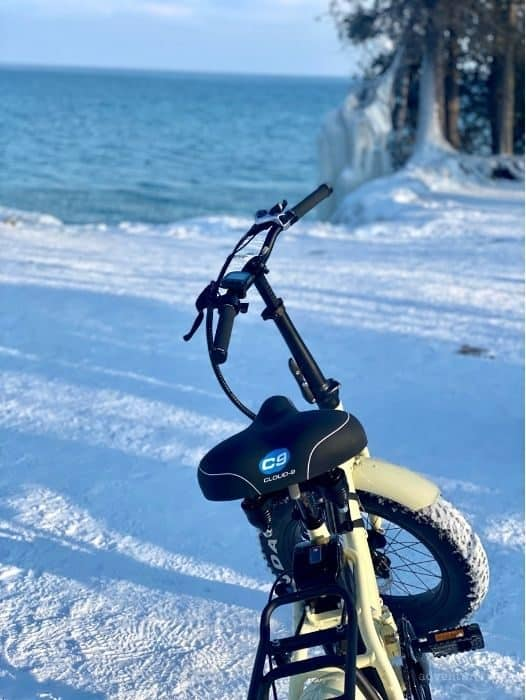 fat tire e bike tour to Cave Point County Park in the winter