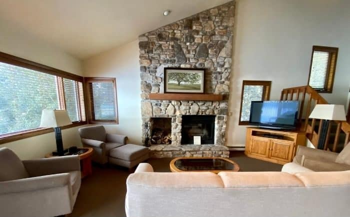 fireplace in condo at The Rushes in Door County