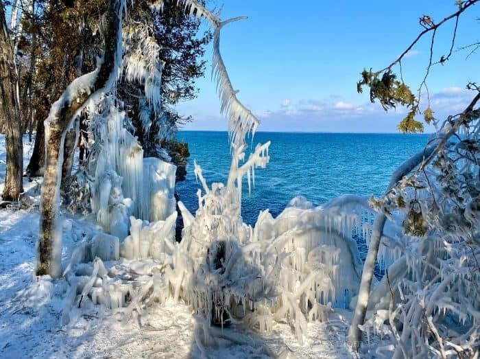 ice at Cave Point County Park in the winter