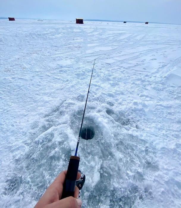 ice fishing in Door County