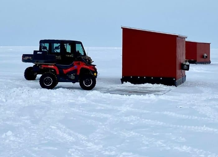 ice shanty for ice fishing in Door County