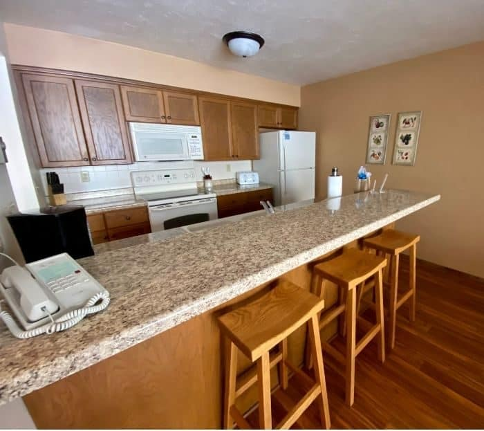 kitchen in condo at The Rushes in Door County