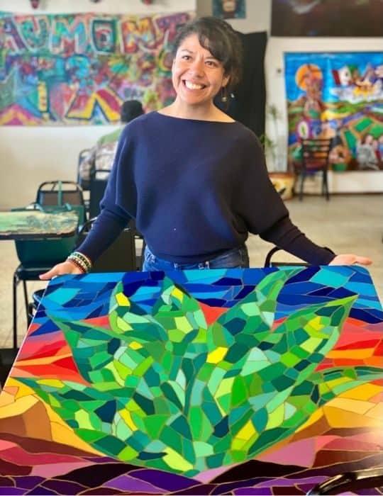 local artist, Ines Alvidres at Tacos La Bamba