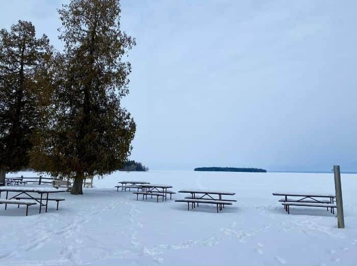 scenic view in the winter at Peninsula State Park