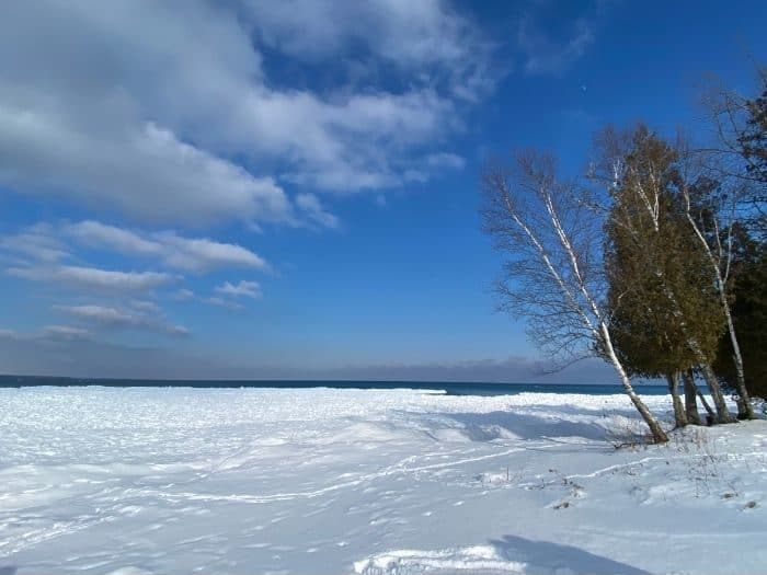 scenic view of Lake Michigan in the winter