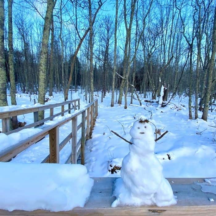 snowman on the trails at The Rushes
