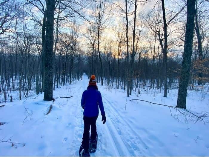 snowshoeing on the trails at The Rushes