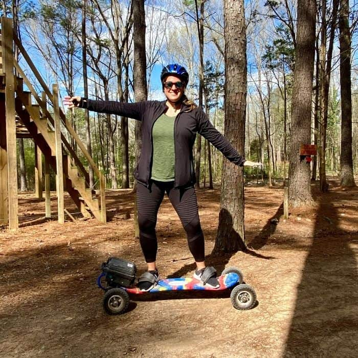 Nedra McDaniel trying Electric Trail Boarding at GoFAR USA Park