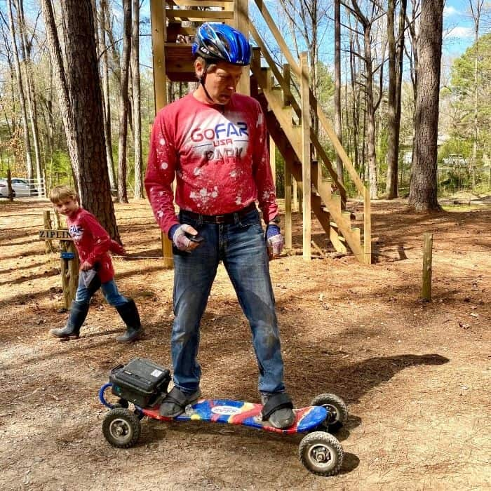 Patrick Fagernan on electric trail board at GoFAR USA Park