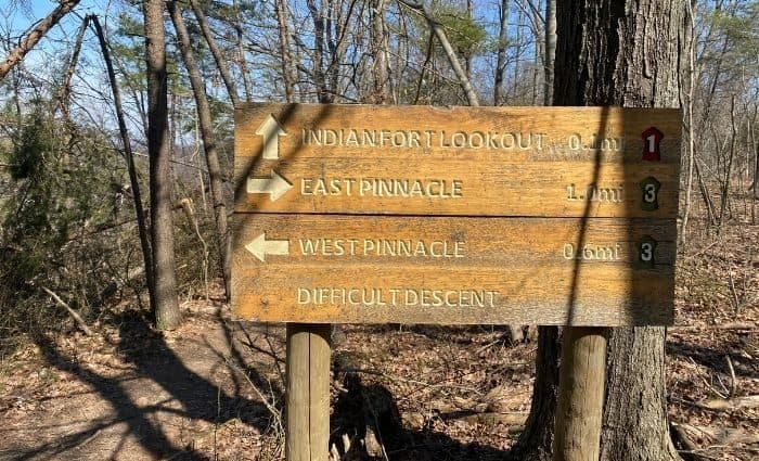hiking trail signs at The Pinnacles in Kentucky