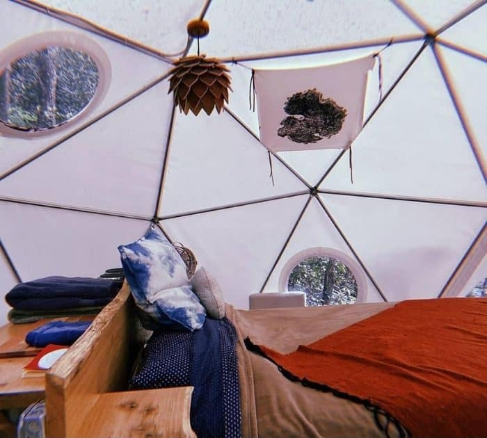 inside the Cloud Dome Treehouse rental at Red River Gorgeous