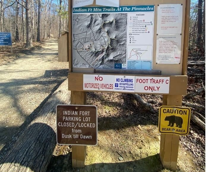 trail map at the Pinnacles in Berea