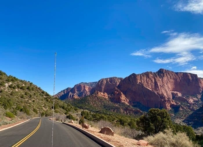 A five-mile scenic drive along the Kolob Canyons Road