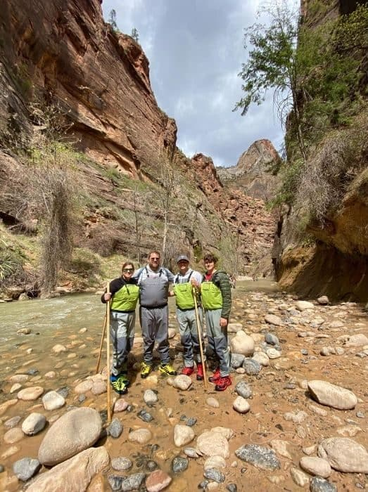 Adventure Mom and family at The Narrows at Zion National Park