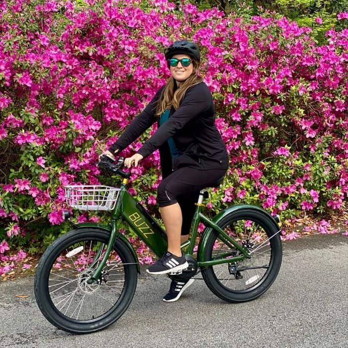 Adventure mom on a Buzz Electric Bike