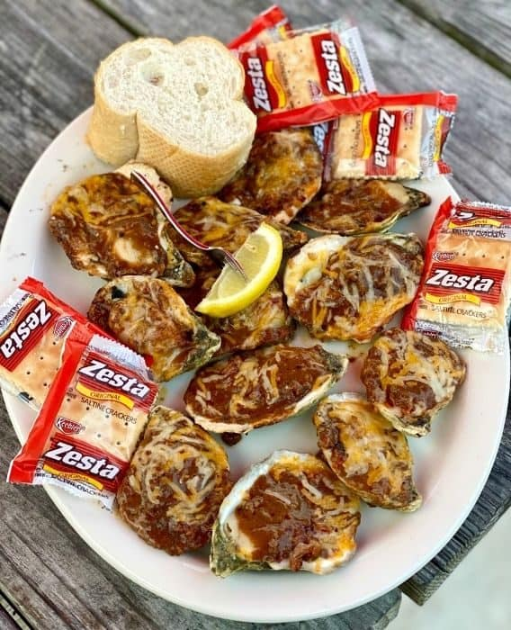 Bacon & BBQ Fire-Roasted Oysters at Flora-Bama Yacht Club