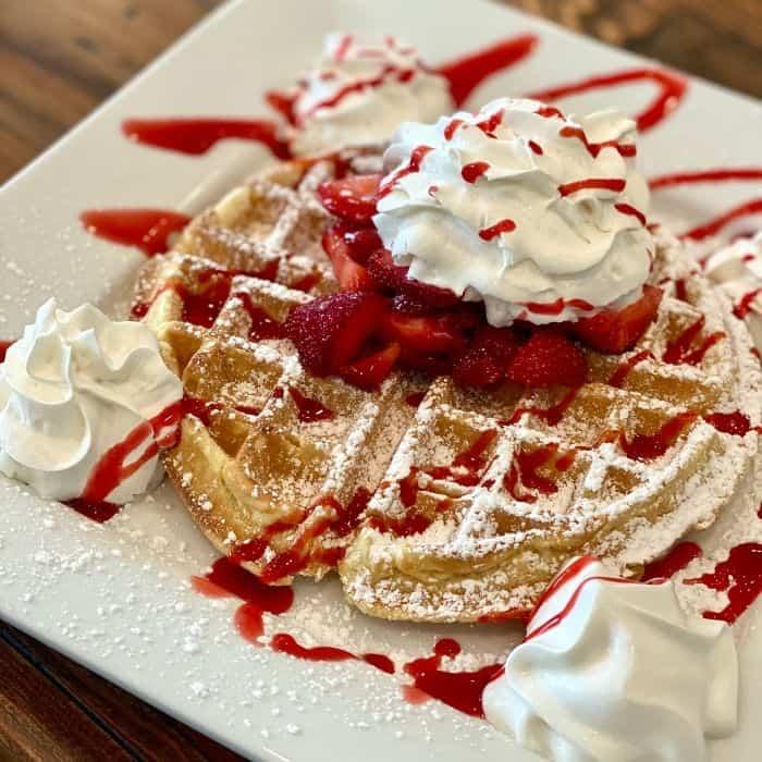 Belgian Waffle with Fresh Strawberries & Cream