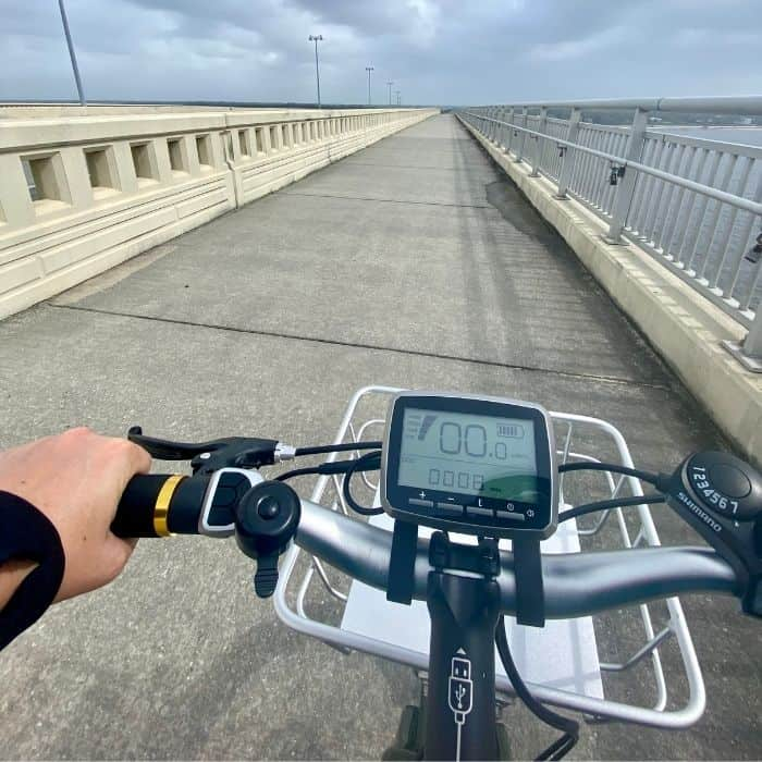 Buzz electric bike on the Biloxi Bay Bridge