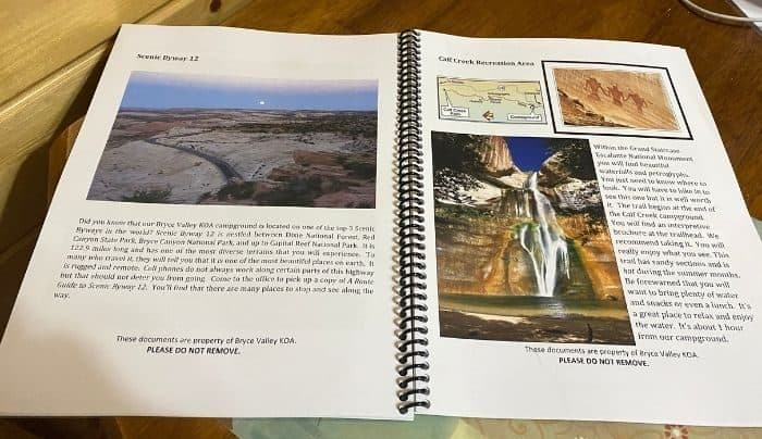 Camper reference guide at Cannonville Bryce Canyon KOA