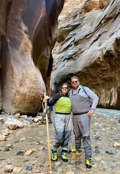 adventure mom at the Narrows at Zion National Park