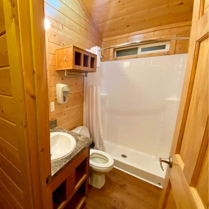 bathroom for the deluxe cabin