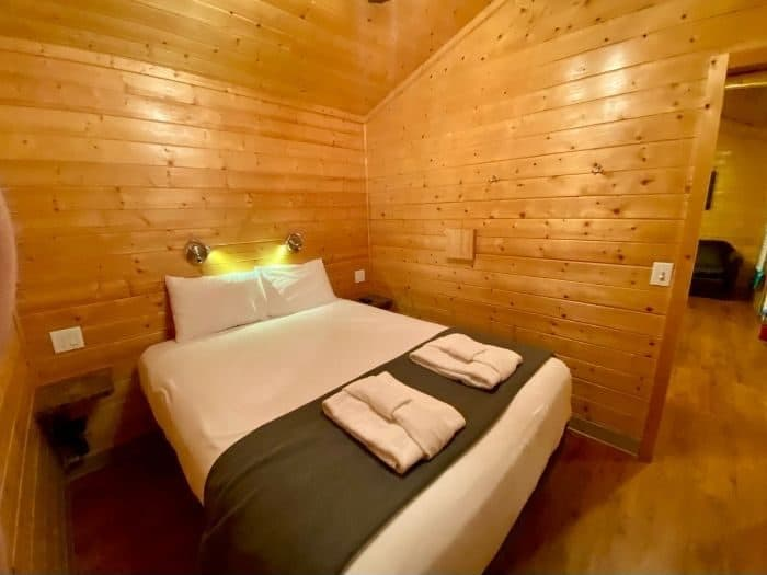 bedroom in the deluxe cabin at night at Cannonville Bryce Canyon KOA