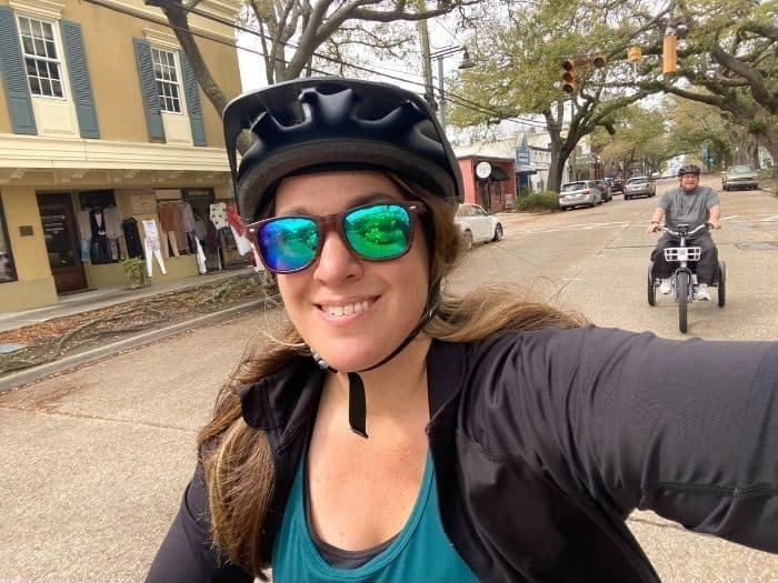 biking in downtown Ocean Springs MS