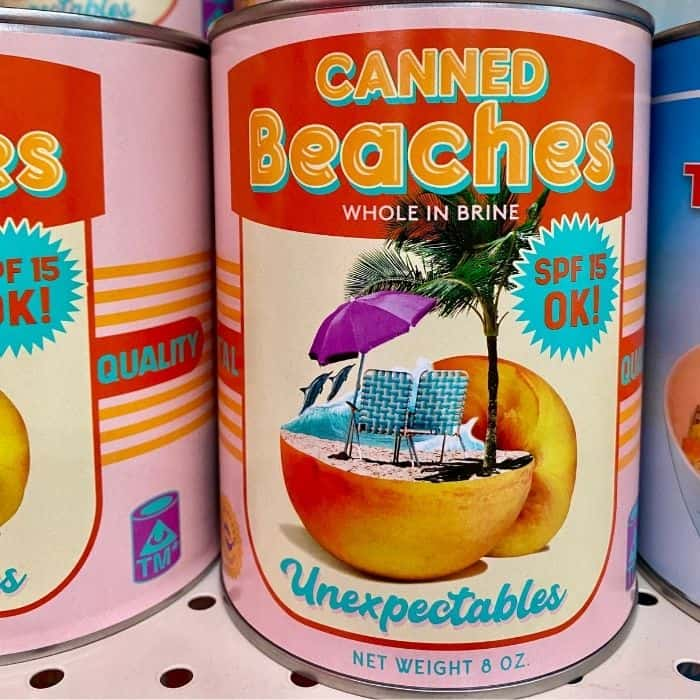 canned beaches at Omega Mart
