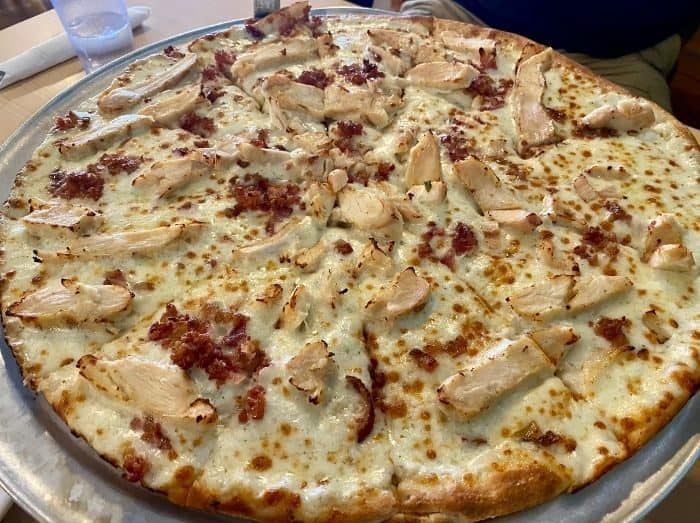 chicken bacon ranch pizza at the pizza place in Tropic Utah