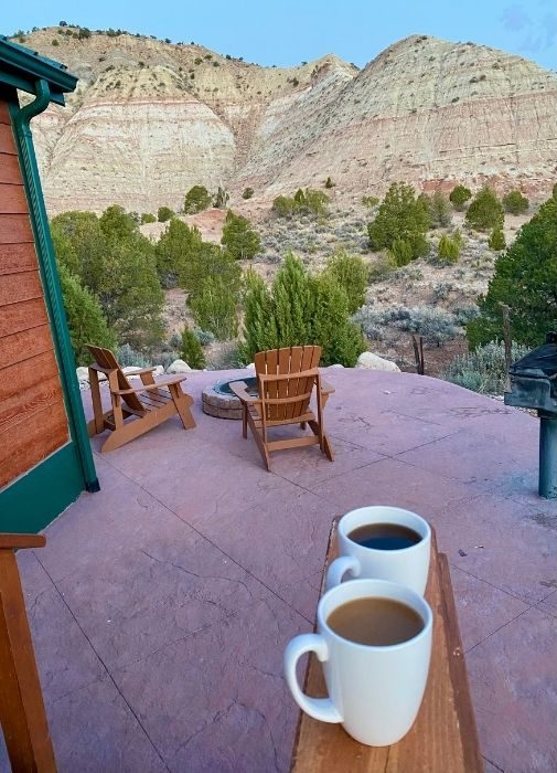coffee and a view in the morning at Cannonville Bryce Valley KOA Holiday