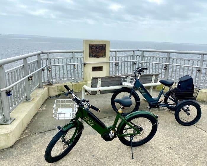 electric bikes on bridge