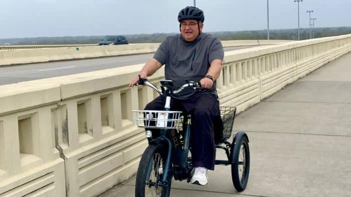 electric trike on a bridge
