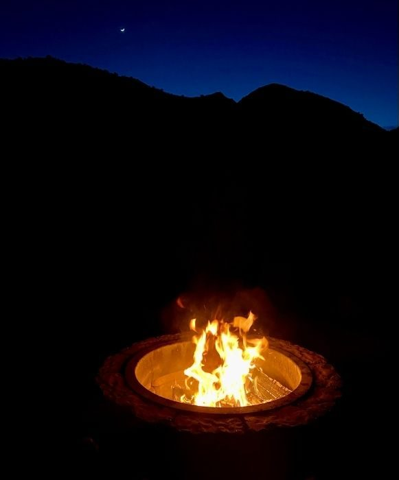 fire pit for deluxe cabin at Cannonville Bryce Canyon KOA