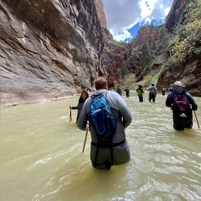 height of water during hike at The Narrows